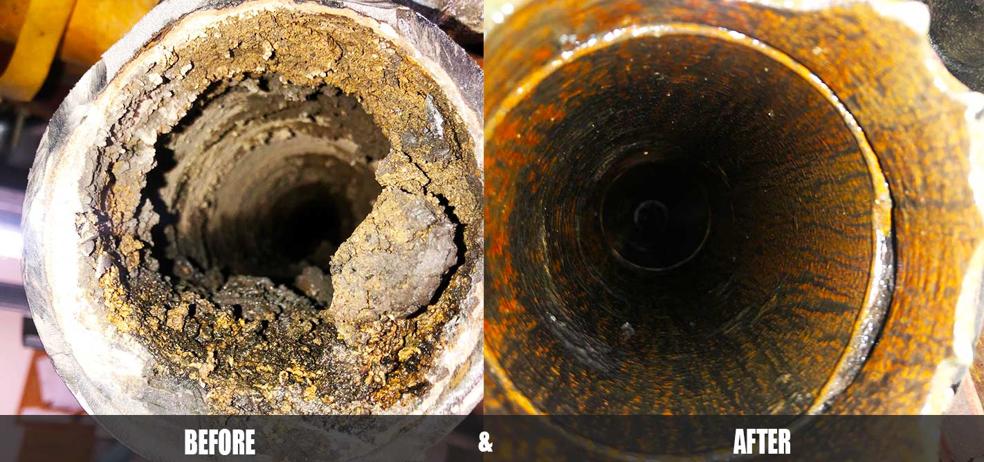 Pipe Descaling Before and After