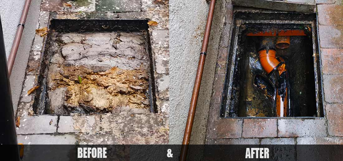 Drain unblocking before and after